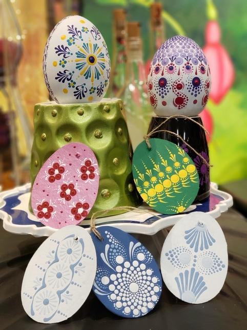 Dot Painting Concrete Eggs